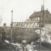 Old Vintage Wwii War Photo U.S. Army Military Soldiers In German Town Germany - $4.99
