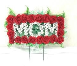 Memorial Graveside grave topper Cemetery Mom Roses Floral Wreath - $49.50