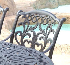 Outdoor 7 pc dining set patio furniture oval table cast aluminum chairs Bronze image 3