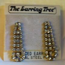 Vintage 1970s Crystal Rhinestone Teardrop Dangle Earrings Pierced Origin... - $20.00