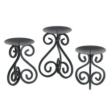 Candle Holder Stand, Set Of Three Scrollwork Metal Standing Candle Holders - £22.46 GBP