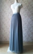 GRAY Wedding Bridesmaid Long Tulle Skirts High Waist Gray Full Tulle Skirt Plus  image 11