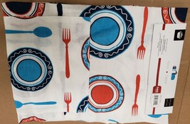 "Fabric Kitchen Apron (24""x32"") 100% Cotton, PLATES & SILVERWARE ON TABLE... - $12.86"