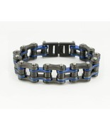 """SK2255 New 3/4"""" Wide Gunmetal Finish With Candy Blue Bike Chain Bracelet - $26.95"""