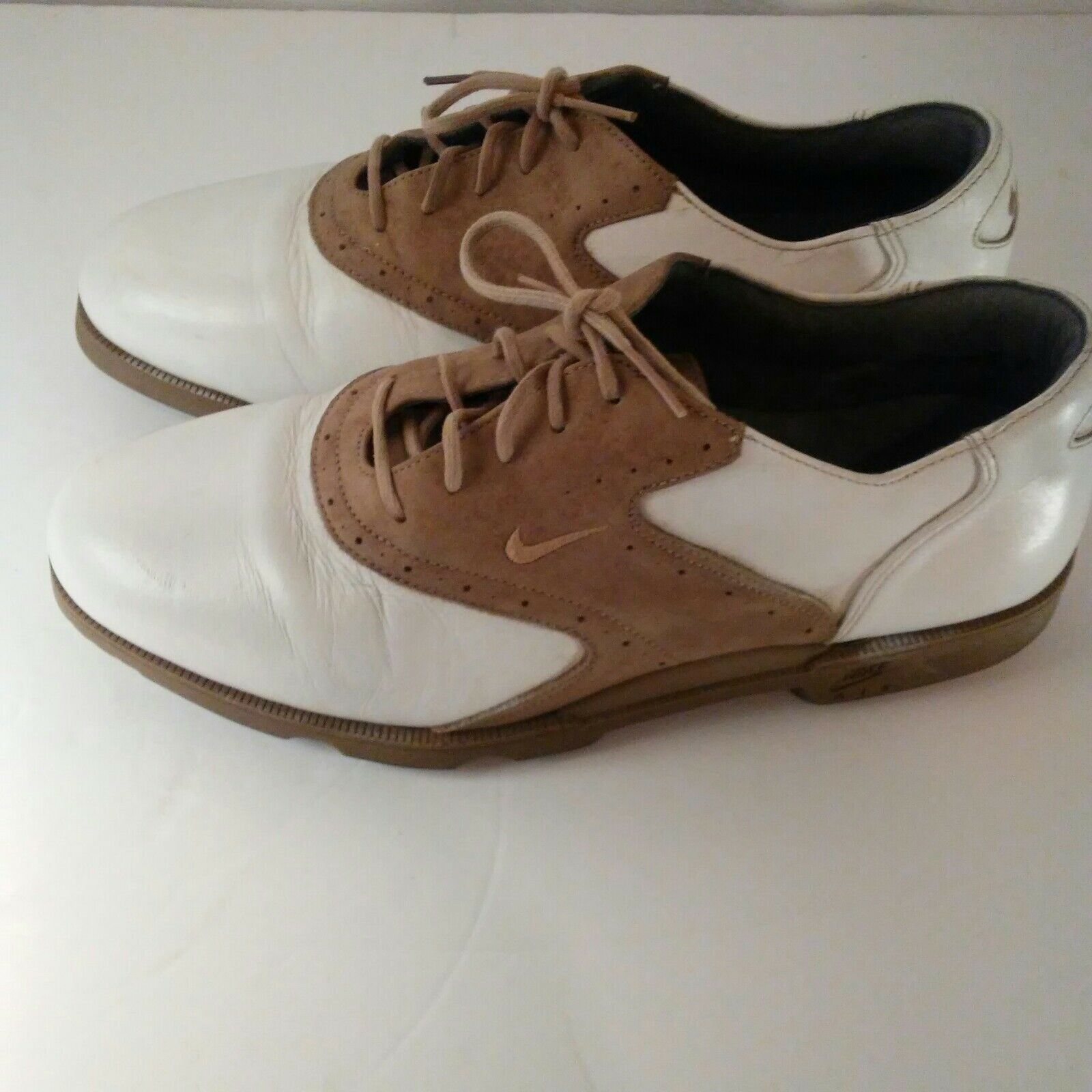 Nike Air Classic Plus White & Brown Saddle Golf Shoes Size 9 image 9