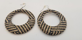 Vintage Geometric Black And Beige Woven Over Metal Big Hoop Pierced Earr... - $15.44