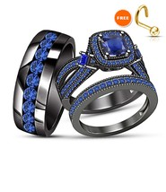 His Her Trio Set Cushion Engagement Ring Wedding Band Bridal Black Gold ... - $167.98