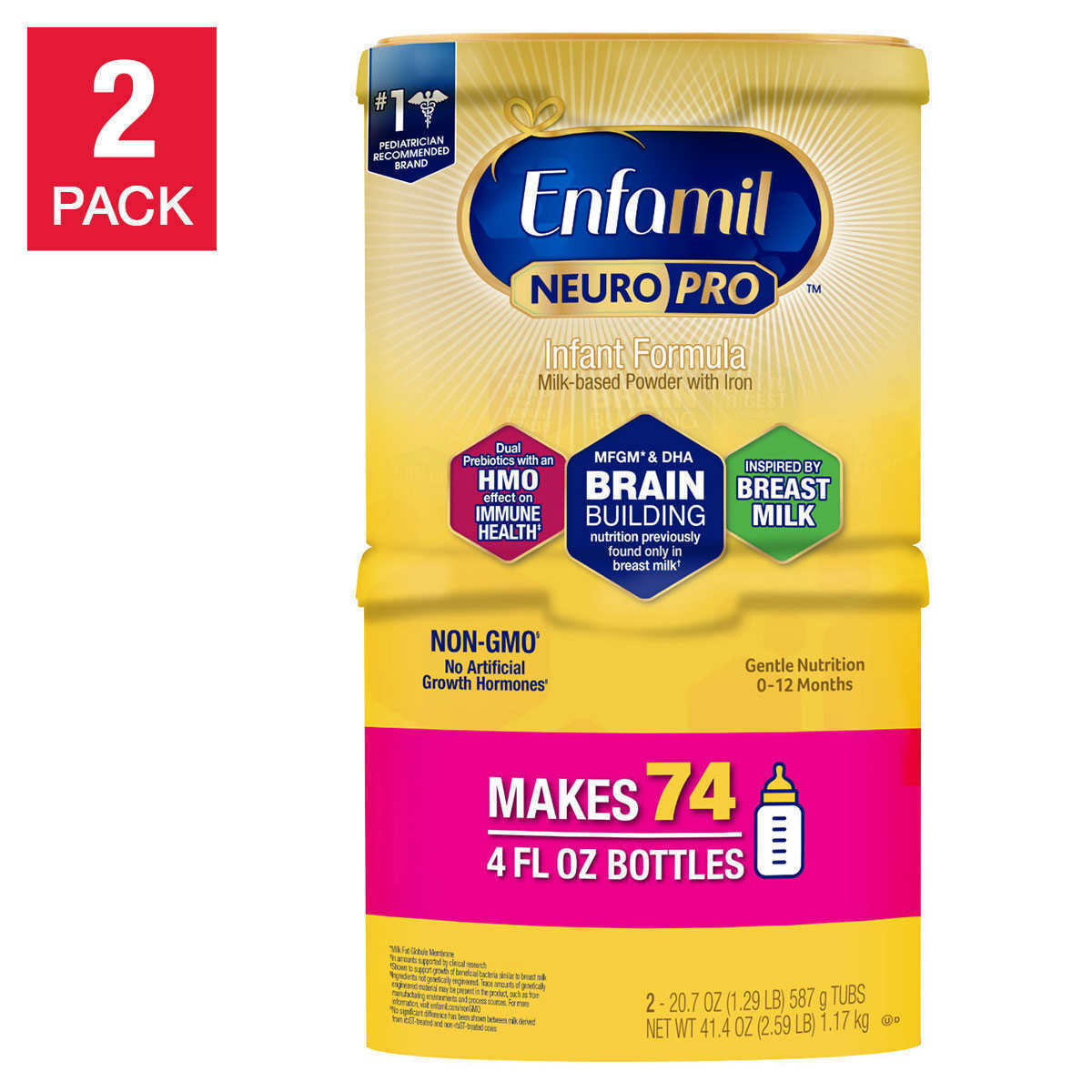 Primary image for Baby Formula Enfamil NeuroPro Infant 20.7-Ounce 2-Pack Non-GMO Makes 74 Bottles