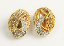 ESTATE VINTAGE Jewelry 80'S HIGH END VINTAGE CRYSTAL ACCENTED EARRINGS - $15.00