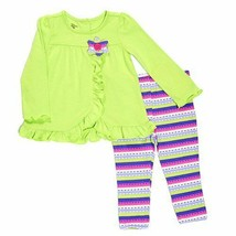 Baby girls size 12 months Kids Headquarters striped leggings set B639 pants - $12.00