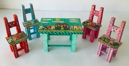 Miniature Artisan Table & 4 Chairs Hand Painted OOAK Large Dollhouse or ... - $25.15
