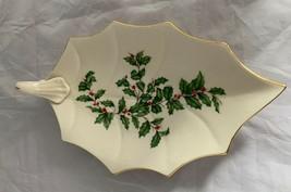 "Lenox Holiday Dimensions Leaf Dish 9"" Handle 24K Gold Trim Gold Holly B... - $20.42"