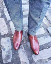 Handmade Men's Brown Chelsea High Ankle Leather Boot image 3