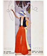 "11x14""Poster on Canvas.Interior design Art.Retro fashion.Femina red pant... - $28.05"
