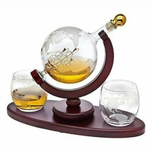 Whiskey Decanter Globe Set with 2 Etched Globe Whisky Glasses - for Liqu... - $76.53