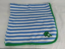 """Little Me Green Frog Blue Stripe Baby Blanket About 26"""" x 30"""" - $10.95"""