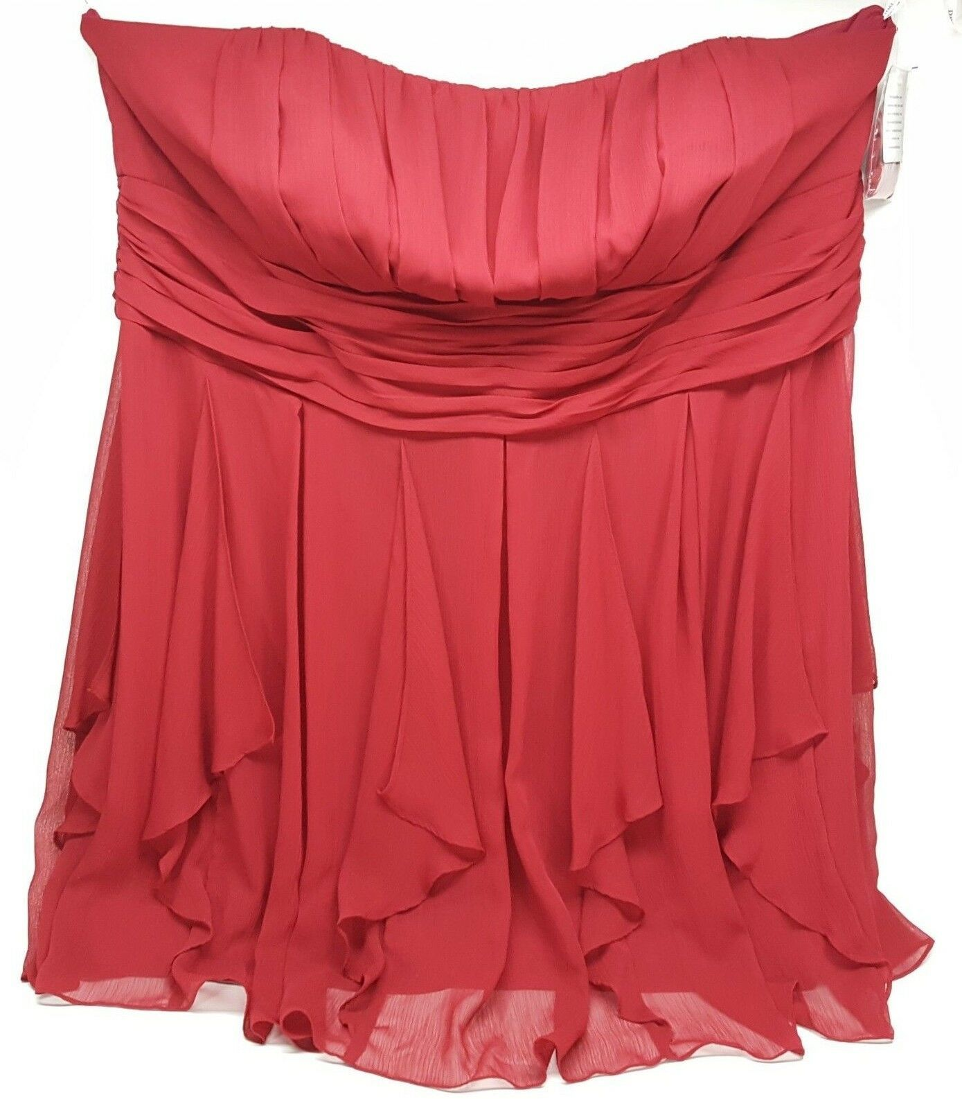 Primary image for David's Bridal Bridesmaid Size 26 Strapless Crinkle Chiffon Ruffle Skirt Dress