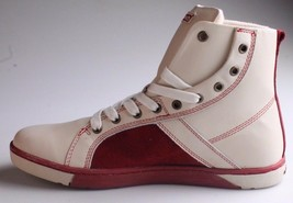 Heyday Mens Shift Classic Cream Cherry Red Leather Shoes Fashion Sneakers NIB image 2