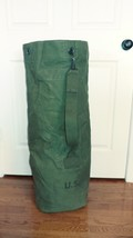 Vintage US Army large military duffle bag luggage olive green canvas USED - $54.95