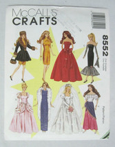 "Barbie Doll Style 11 1/2"" Wardrobe Of 8 Fashion Dresses ~ Mccalls 8552 ~ Uncut - $8.95"