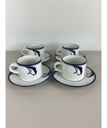 Dansk Flora Set of 4 Saucer and Mug Blue White Floral - $98.99