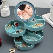 Multilayer Jewelry Box Rotating Desktop Jewelry Storage Earrings Jewelri... - $17.69