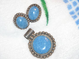 Handcrafted Sterling Silver Pendant & Post Earrings With Blue Stone Mexico TJ 86 image 5