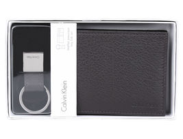 NEW CALVIN KLEIN CK MEN'S LEATHER BIFOLD ID WALLET KEY CHAIN SET BROWN 79080 image 7