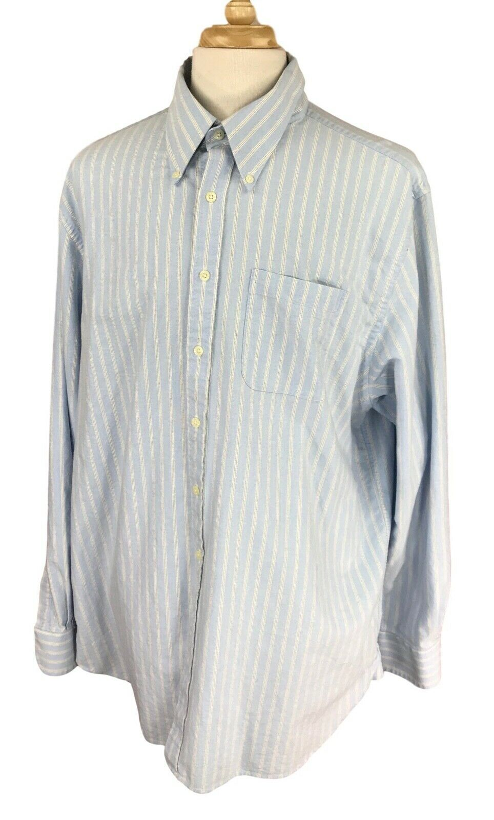 Charles Tyrwhitt Men's Button Down Long Sleeve Blue Stripe Oxford Shirt XXL