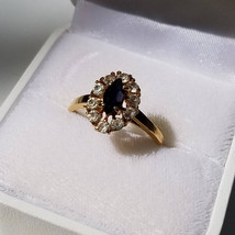 Vintage 1950s Simulated Sapphire And Diamond Cocktail Ring ~ Size 9-1/2 - $19.99
