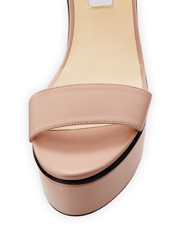 Jimmy Choo Nylah Leather Wedge Platform Sandals 40 MSRP: $650.00