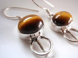 Tigers Eye 925 Sterling Silver Dangle Earrings Corona Sun Jewelry - $6.92