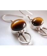 Tigers Eye 925 Sterling Silver Dangle Earrings Corona Sun Jewelry - $6.92
