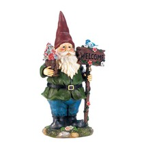 "SOLAR BLUEBIRD GNOME Welcome Garden Statue 15"" Outdoor Decor - $29.44"