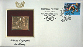 WINTER OLYMPICS - Ice Hockey  FIRST DAY OF ISSUE STAMP: Jan. 11, 1992 - $8.50