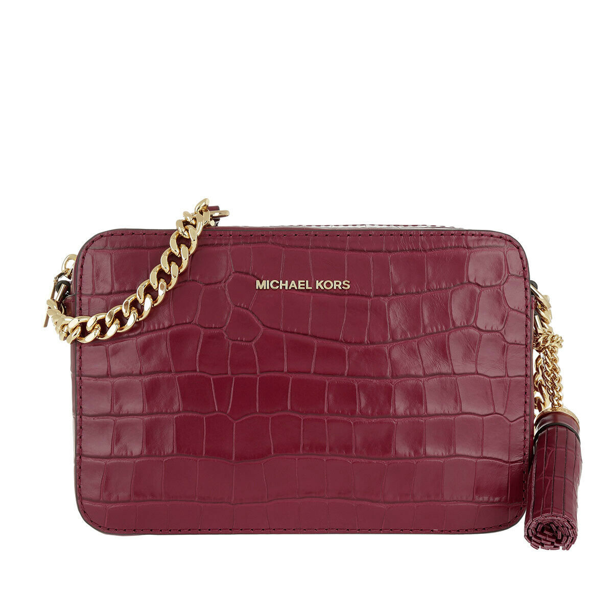 Michael Kors Ginny Croc Embossed Leather Crossbody Camera Bag Mulberry NWT $198