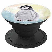 Cute Baby Penguin Watercolor Painting In Pastel Colors - PopSockets (Black) - $21.13