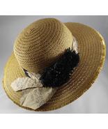 Women's Sonoma Straw Wide Brim Floppy Hat Sunhat w John Kaldor Tie & Bla... - $64.99