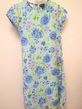 The Children's Place 10 Dress Blue Green Purple Floral with Slip Easter - $7.83