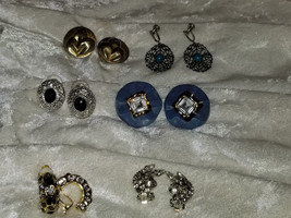 Lot of vintage clip on earrings Signed Whiting & Davis leaf rhinestone a... - $18.00
