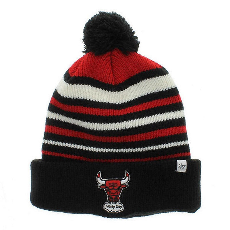 Chicago Bulls Beanie NBA Incline Cuff Pom Knit Hat Men's One Size Winter