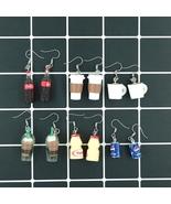 Handmade Cute Coffee Cola Drink Food Soda Drop Earring Resin Korean Kawa... - $3.29