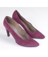 CHARLES JOURDAN France Soft Luxe Purple Suede Leather High Heel Pumps Sh... - $34.64
