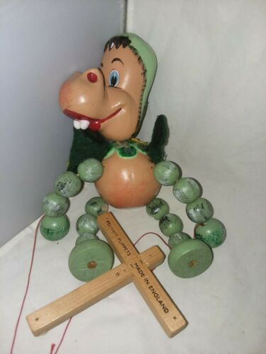 Primary image for Pelham Puppet Wood Toy Marionette Baby Dinosaur 1960's England Needs Restrung
