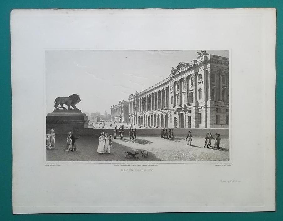 FRANCE Paris Place Louis XV - 1821 Antique Print by Cpt. Batty image 2