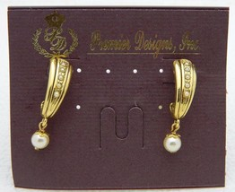 NOS Premier Designs Expression Gold Tone Faux Pearl Hoop Post Earrings - $14.85