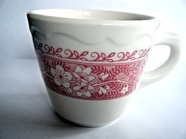 Syracuse China Coffee Cup Red Floral On Cream Background Pattern SY463 USA - $5.89