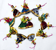 Indian Handmade Dolls Pair Handicrafts Puppets Home Decor Ornaments Doll... - $110.88
