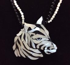 Rare Vintage Karla Jordans Large Lion Inlaid Necklace & Earrings Set Bla... - $58.04