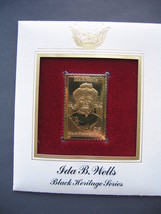 1990 Ida B Wells Black Heritage 22kt Gold Golden Cover replica FDC FDI S... - $6.92